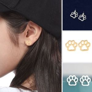 5/$24 Small Paw Print Post Earrings
